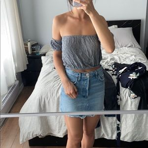 Cropped gingham off the shoulder top AE